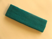 Teal sports headband for sweat terry cloth