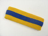 Golden yellow blue golden yellow stripe sport headband for sweat