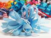 Light sky blue pearl bead strings hair bow w french clip