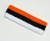 Orange black white striped sports sweat headband