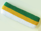 Green yellow white stripe terry sport headband for sweat