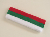 Red green white 3color striped headband for sports