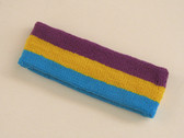 Purple golden yellow skyblue 3color striped headband for sports