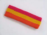 Hot pink golden yellow dark orage 3color striped headband for sp