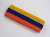 Golden yellow blue dark orange 3color striped headband for sport