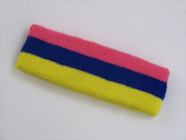 Bright pink blue bright yellow 3color striped headband for sport