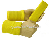 Bright yellow sports sweat headband 4inch wristbands set