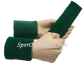 Dark green sports sweat headband 4inch wristbands set