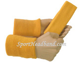 Gold yellow sports sweat headband 4inch wristbands set