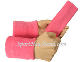 Pink sports sweat headband 4inch wristbands set