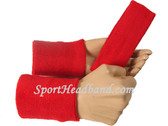 Red sports sweat headband 4inch wristbands set