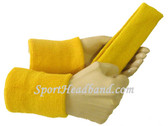 Yellow sports sweat headband 4inch wristbands set