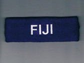 Custom Dark Purple Sport Headband with White Text Sample