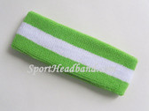 Bright Lime green White Bright Lime Green Striped Sport Headband
