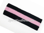 Black Light Pink Black striped sport terry headband