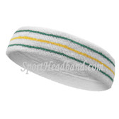 Green Golden Yellow lines in white tennis headband terry cloth