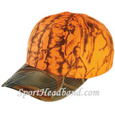 Neon Orange Deer Hunting Camouflage Cap with Mossgreen Camo Peak