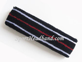 White Red White Lines in Navy Blue Tennis Headband Terry Cloth