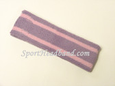 Soft Lilac with Light Pink Striped Sports Headband