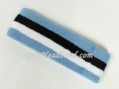 Cerulean (Light) Blue Black White Large Sports Headband Pro