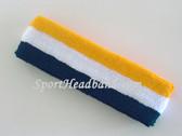 Navy Blue White Yellow Striped Sports Headband