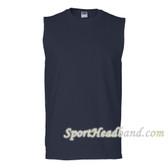 Navy Blue Sleeveless T-Shirt 100% Cotton