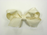Ivory with White Stitch Hair Bow with Clip