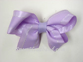 Soft Lilac with White Stitch Hair Bow with Clip