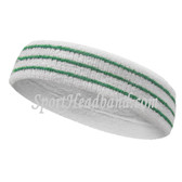 Green Stripes On White Tennis Sport Headband Terry