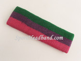 Green Purple Hot Pink Striped Sport Headband
