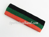 Dark Orange Green Black Striped Sport Headband Terry