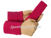 Hot Pink Sports Headband 4inch Men's Wristbands Set