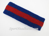 Blue red blue striped terry sport headband for sweat