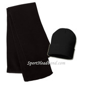Black Scarf + Black Beanie Hat for sports Set