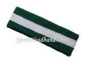 Dark Green white striped terry sport headband for sweat