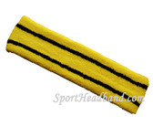 Bright yellow basketball headband pro with 2 black stripes