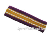 Purple gold with white line basketball headband pro