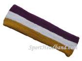 Purple white gold striped headband sports pro