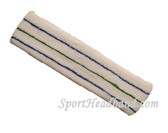 Blue Green Blue striped on White large tennis head sweatband