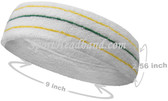 Yellow Green Yellow striped on White large tennis head sweatband