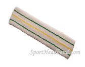 Green Yellow Green striped on White large tennis head sweatband