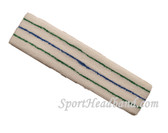 Green Blue Green striped on White large tennis head sweatband