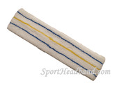 Blue Yellow Blue striped on White large tennis head sweatband