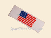 White Nylon Sport Headband with American Flag Pattern