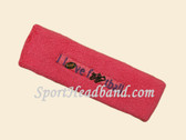 Bright Pink custom terry headbands sports sweat