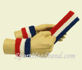 Blue White Red Youth headband wristband set for sports sweat