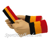 Black Gold Yellow Red sports sweat headband 4inch wristbands set