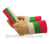 "Bright Pink Green White sports sweat headband 4"" wristbands set"