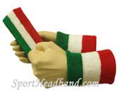 Green White Red sports sweat headband 4inch wristbands set