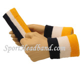 "Navy White Yellow sports sweat headband 4"" wristbands set"